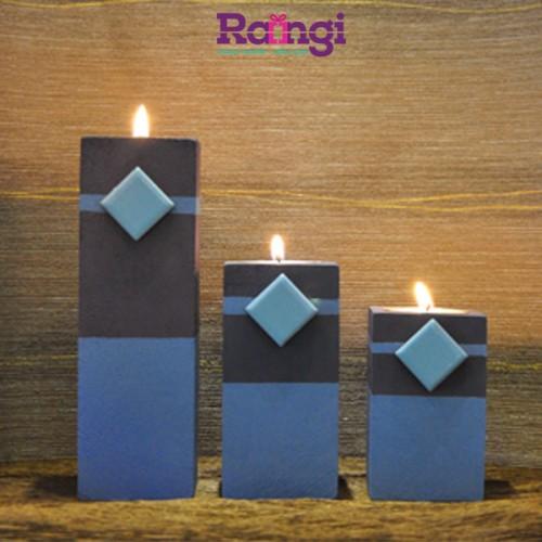 جا شمعی چوبی آبی