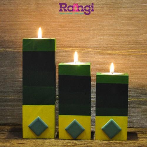 جا شمعی چوبی سبز