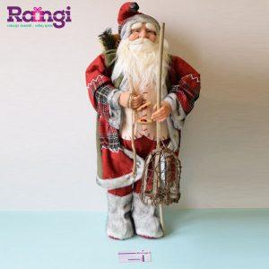 عروسک بابانوئل با فانوس چوبی