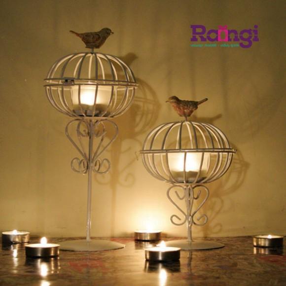 جا شمعی پایه دار قفس و پرنده