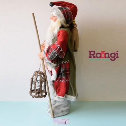 دکوری بابانوئل با فانوس چوبی