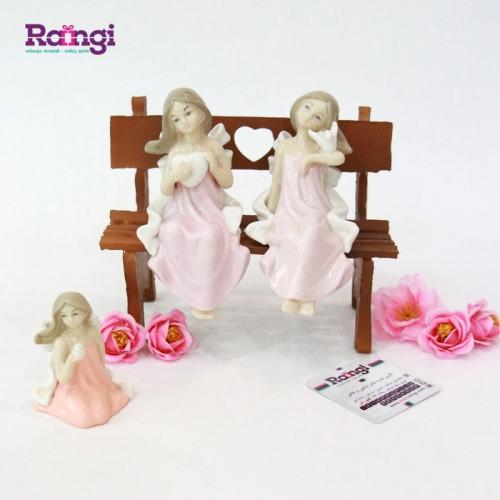 خرید اینترنتی مجسمه فرشته نشسته سرامیکی