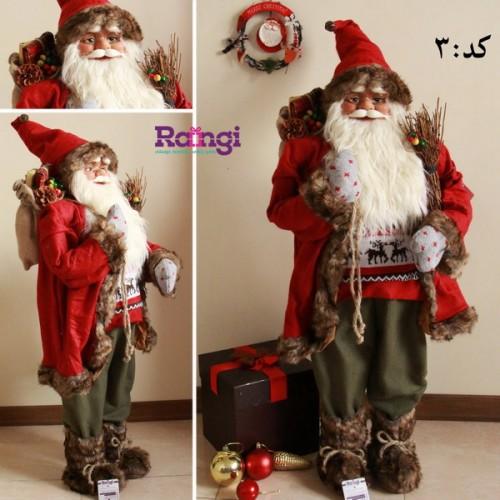 بابانوئل کریسمس قرمز با چوب اسکی