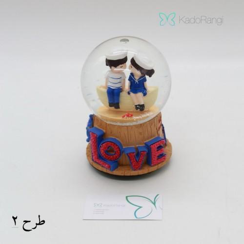 خرید گوی شیشه ای ولنتاین طرح عروسکی