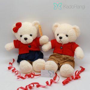عروسک ولنتاین طرح خرس ست سفید