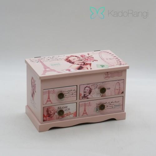 جعبه جواهرات چوبی کشودار
