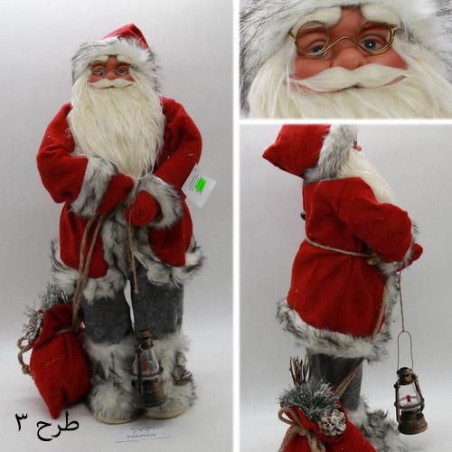 عروسک بابانوئل 60 سانتی با لباس طوسی قرمز