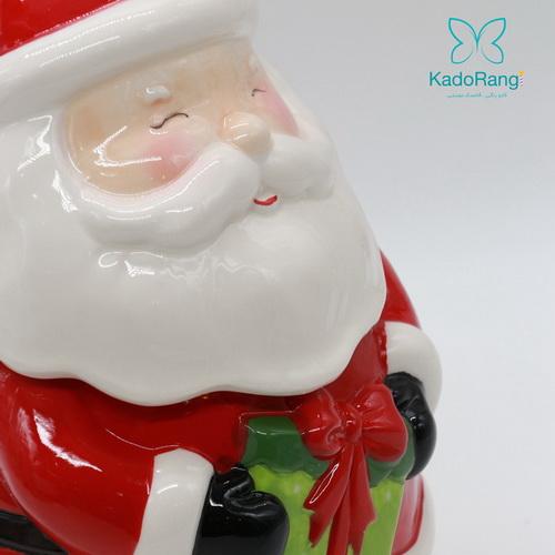 ظرف مجسمه ای درب دار بابانوئل از جنس سفال