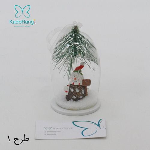 آویز شیشه ای کریسمس با آدم برفی