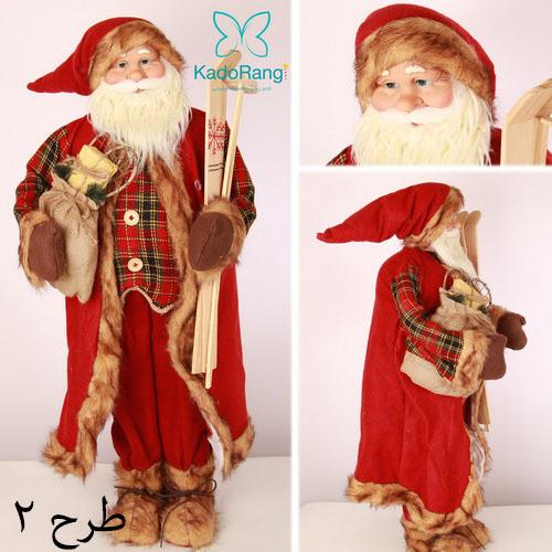 عروسک بابانوئل با ارتفاع 90 سانت و جلیقه چهارخانه