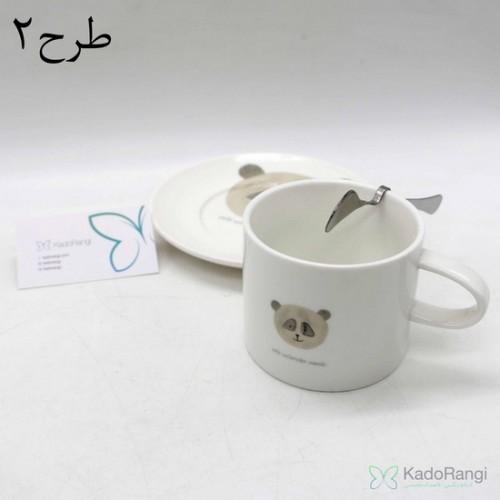 فنجان نعلبکی طرح حیوانات با قاشق استیل