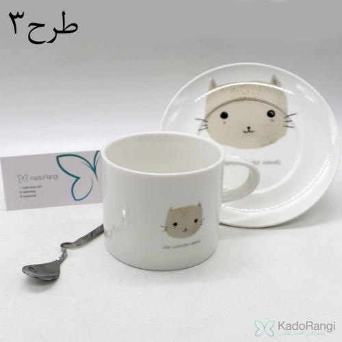 فنجان نعلبکی طرح حیوانات با قاشق استیل طرح خاص