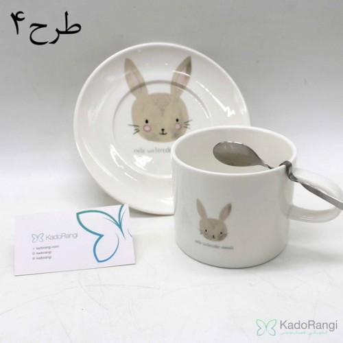 فنجان نعلبکی طرح حیوانات در 4 طرح
