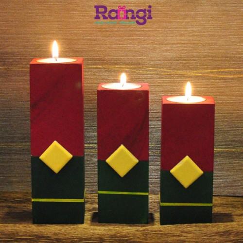 جا شمعی چوبی قرمز