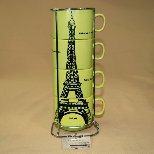 خرید ست فنجان با استند فلزی طرح ایفل زرد