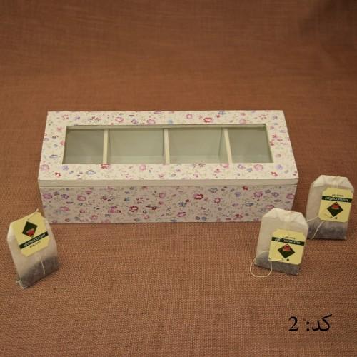 خرید جعبه چای کیسه ای مستطیل 4طبقه کد2