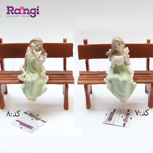 مجسمه فرشته نشسته سرامیکی