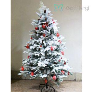 خرید درخت کریسمس برفی با گوی آویزان