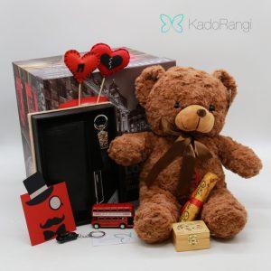 پک عروسک ولنتاین طرح خرس قهوه ای