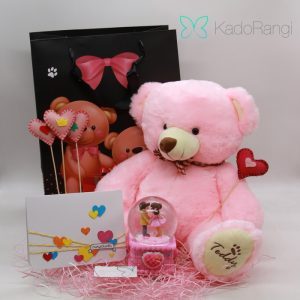 پک هدیه ولنتاین طرح خرس صورتی
