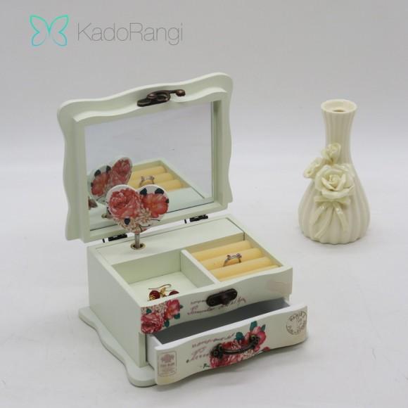 جعبه جواهر موزیکال طرح گل رز