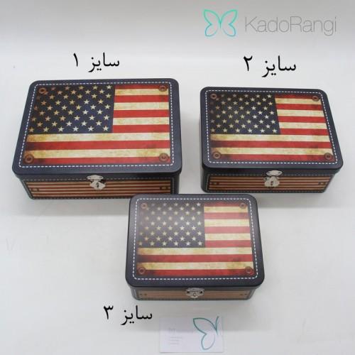 قوطی فلزی قفلدار طرح پرچم آمریکا