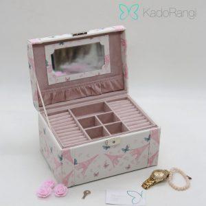 جعبه جواهرات قفل دار طرح گل