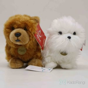 عروسک سگ پشمالو قهوه ای و سفید