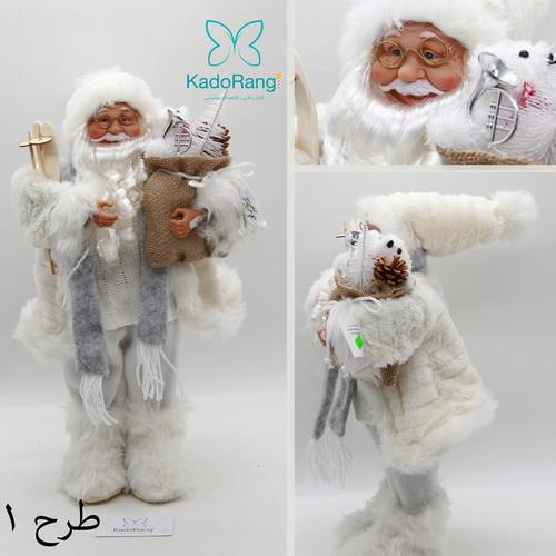 بابانوئل 47 سانتی کریسمس با لباس سفید