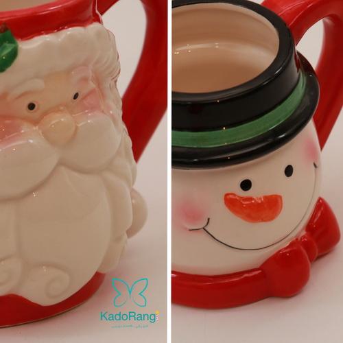 ماگ قرمز کریسمس با طرح بابانوئل