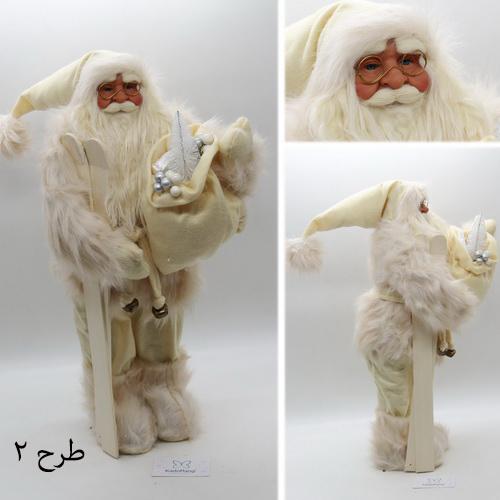 عروسک بابانوئل پلاستیکی 60 سانت با لباس سفید