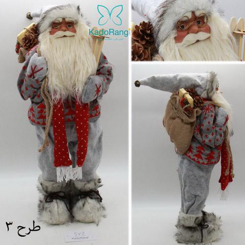 عروسک بابانوئل پلاستیکی 60 سانت با شال