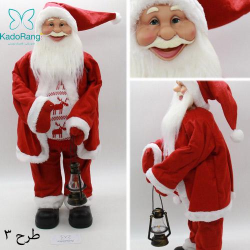 عروسک بابانوئل با قد متوسط لباس قرمز
