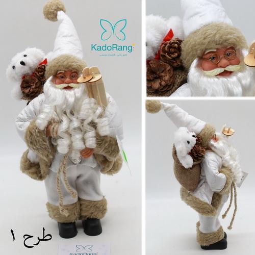 عروسک بابانوئل 30 سانت پلاستیکی کریسمس کادو رنگی