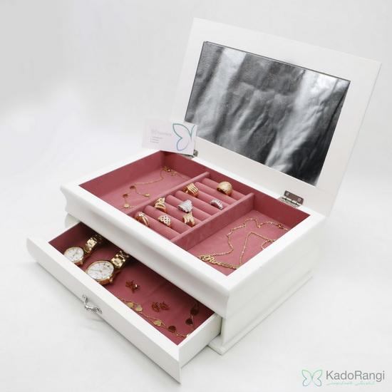 جعبه جواهر چوبی سفید